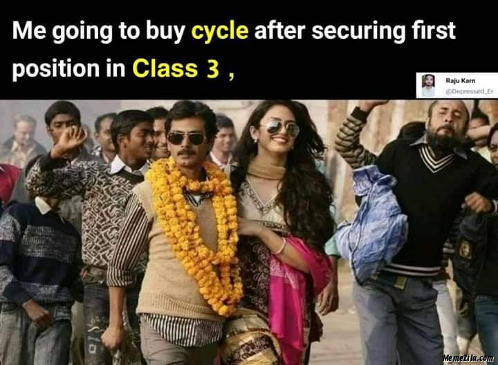 Me going to buy cycle after securing first position in class 3 meme