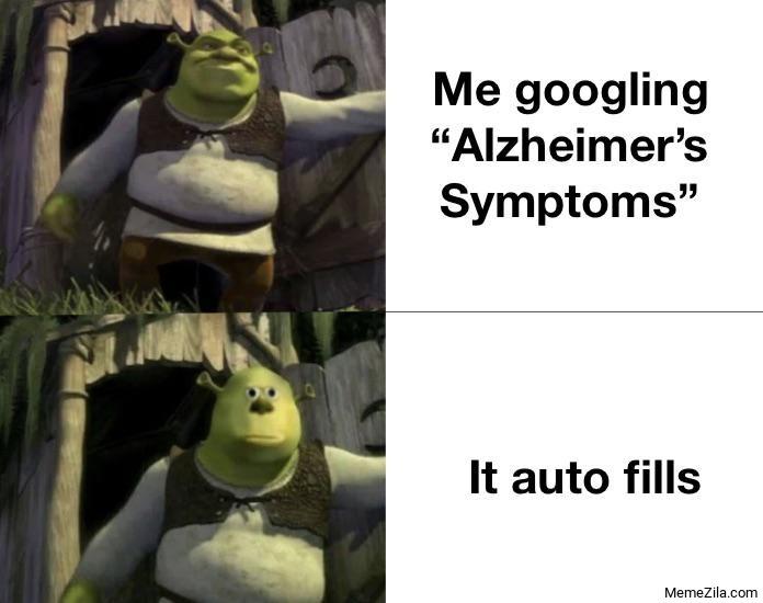 Me googling alzheimers symptoms It auto fills meme