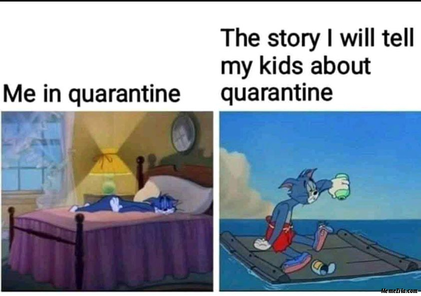 Me in quarantine vs The story I will tell my kids about quarantine meme