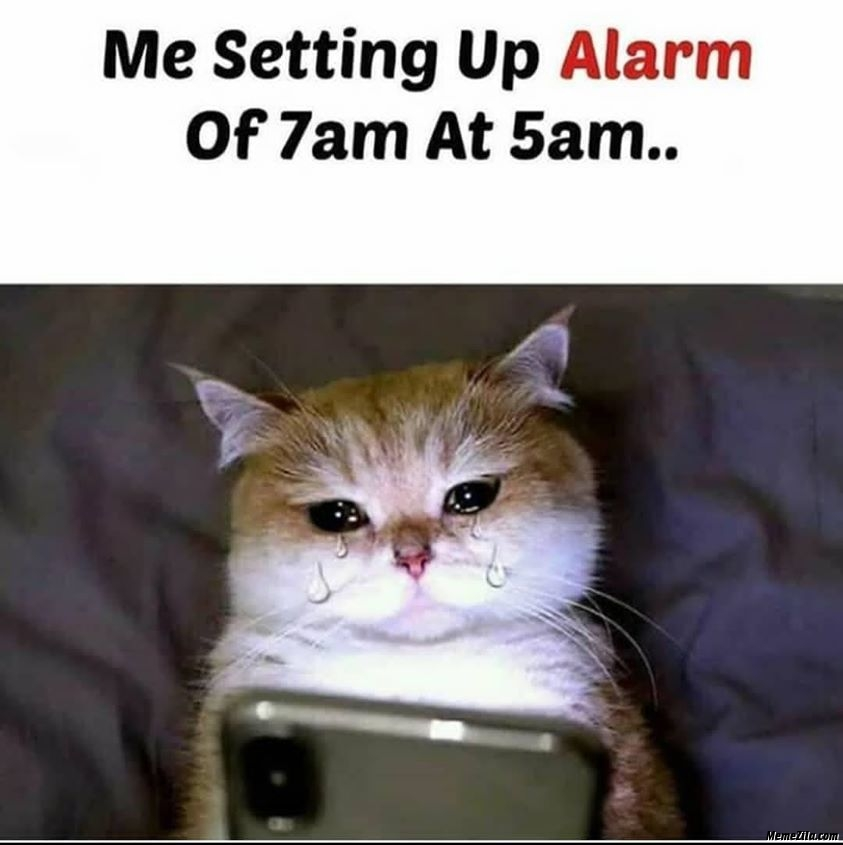 Me setting up alarm of 7:00 am at 5:00 am
