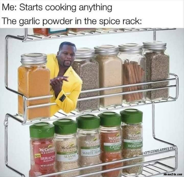Me starts cooking anything The garlic powder in the rack meme