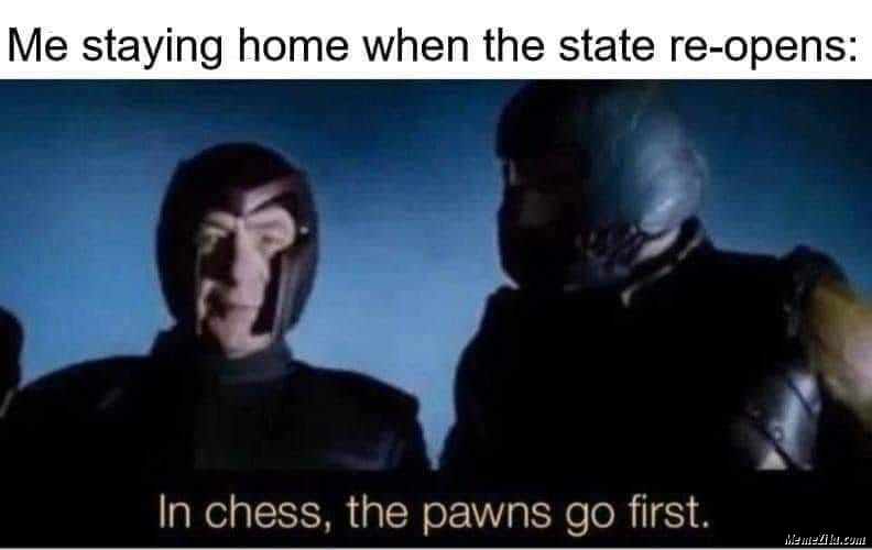 Me staying home when the state reopens In chess the pawns goes first meme