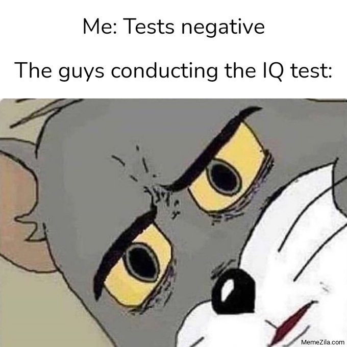 Me tests negative Meanwile th guys conducting the IQ test meme