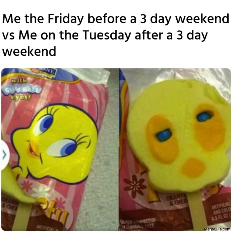Me the Friday before a 3 day weekend vs Me on the Tuesday after a 3 day weekend meme
