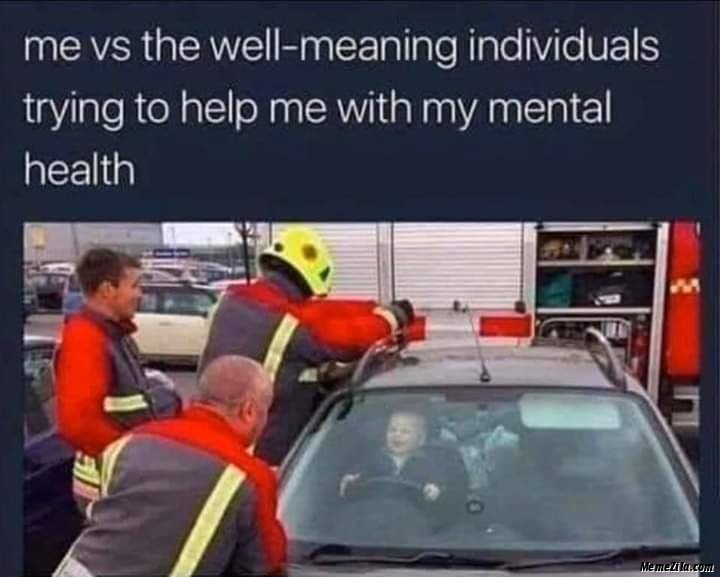 Me vs The well meaning individuals trying to help me with my mental health meme