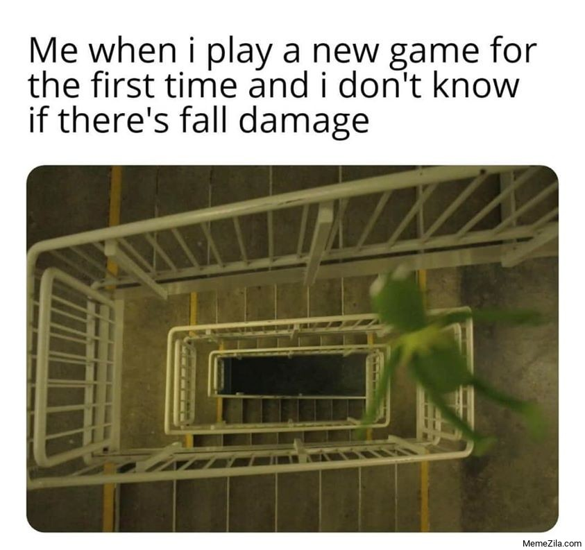 Me when I play a new game for the first time and I dont know theres a fall damage meme