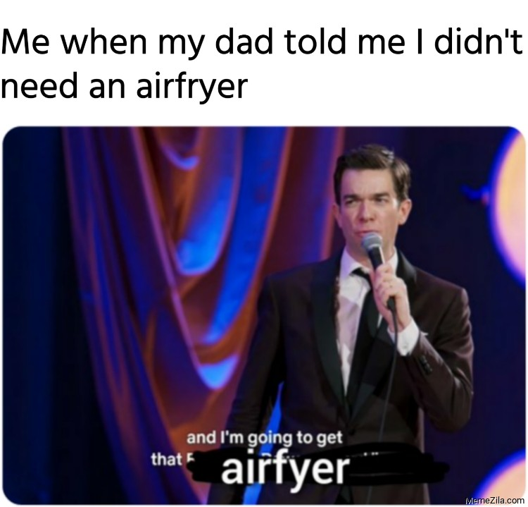Me when my dad told me I didnt need an airfryer meme