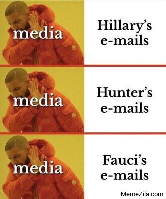 Media vs Faucis emails Drake meme