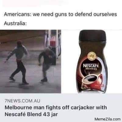 Melbourne man fights off carjacker with Nescafe Blend 43 jar meme