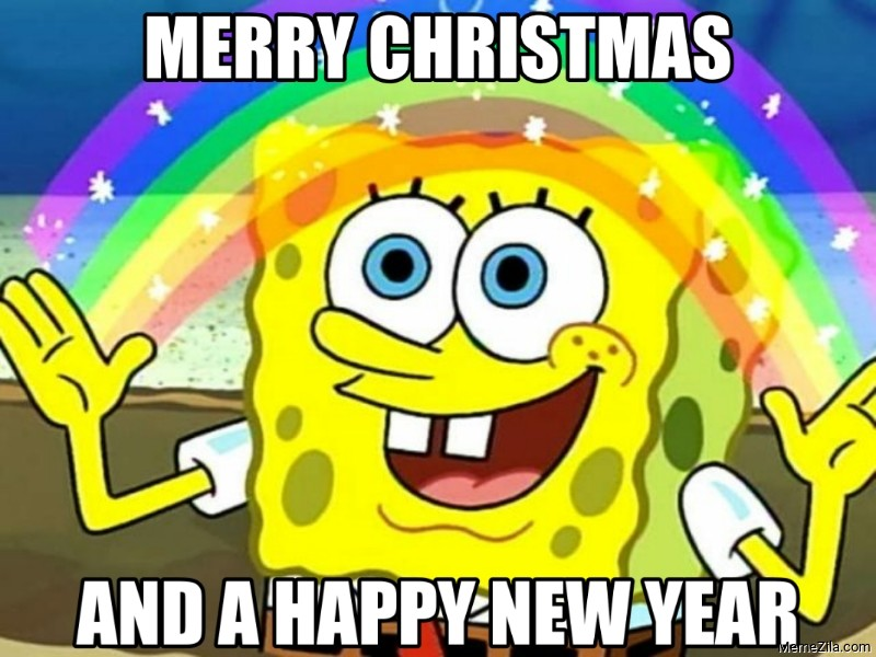 Merry christmas and a happy new year Spongebob meme