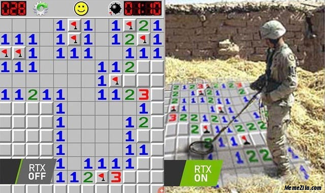 Minesweeper when rtx off vs Minesweeper when rtx on meme