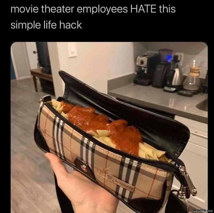 Movie theatre employees hate this simple life hack meme