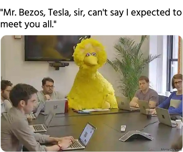 Mr Bezos Tesla sir cant say I expected to meet you all meme