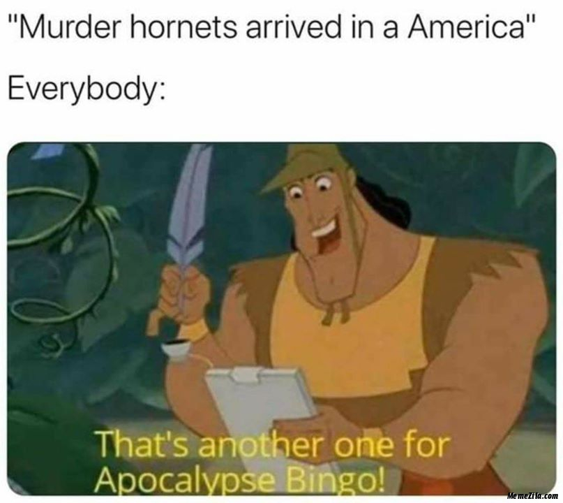 Murder hornets arrived in America Meanwhile everybody Thats another one for apocalypse bingo meme