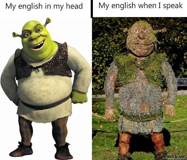 My english in my head vs My english when I speak meme