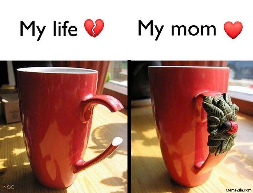 My life My mom Broken cup meme