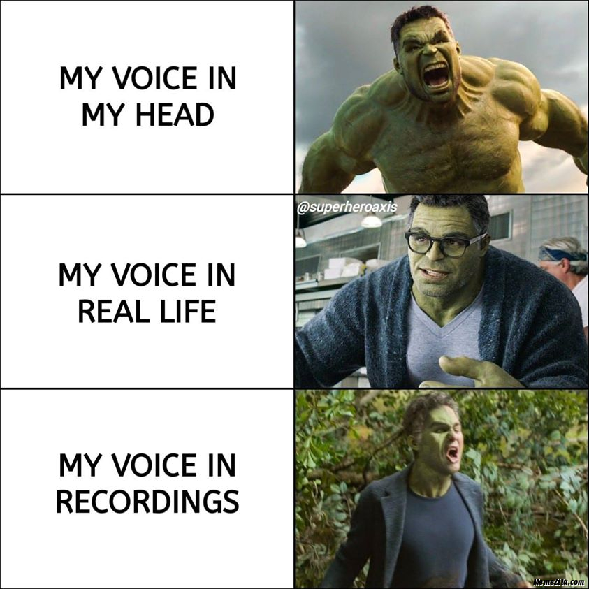 My voice in my head My voice in real life My voice in recordings meme