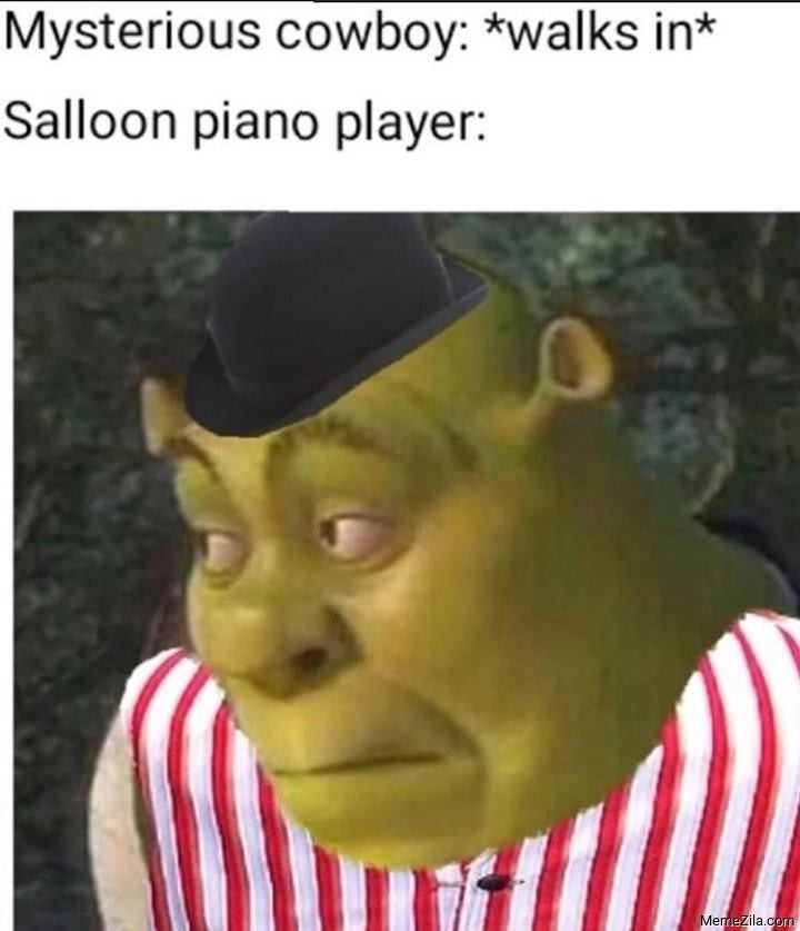 Mysterious cowboy walks in Meanwhile salloon piano player meme