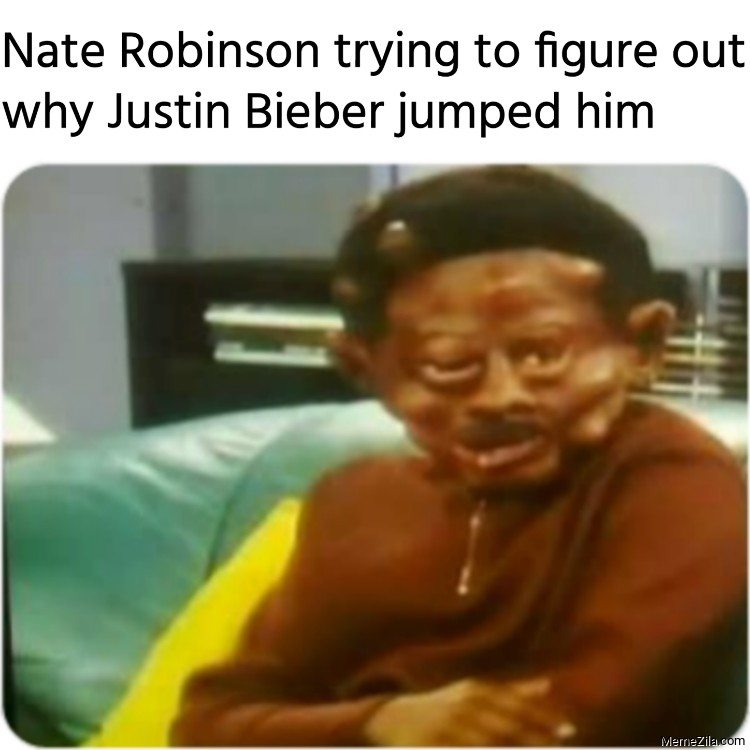 Nate Robinson trying to figure out why Justin Bieber jumped him meme