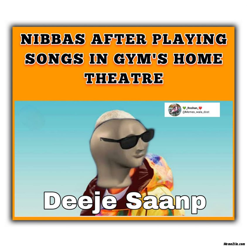 Nibbas after playing songs in gyms home theatre meme