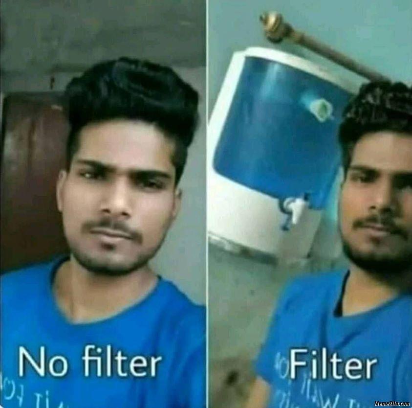 No filter vs filter photo meme
