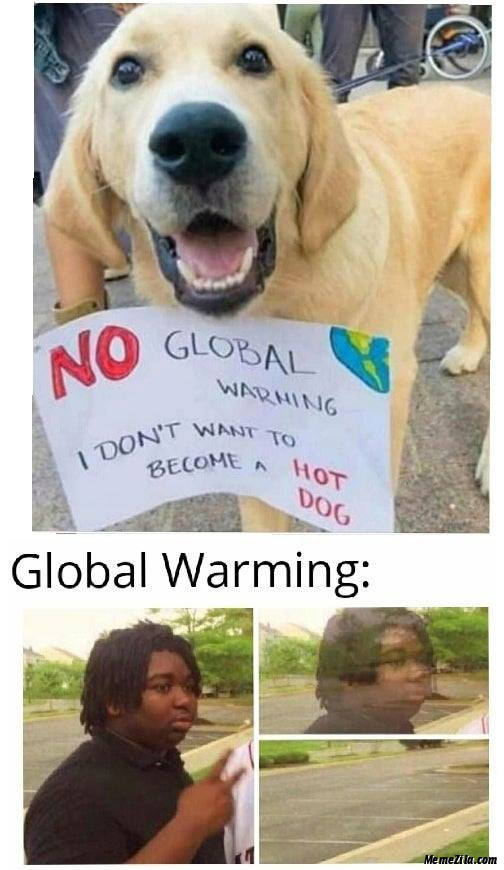 No global warming I dont want to become a hot dog meme