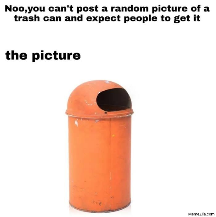 Noo you cant post a random picture of a trash can and expect people to get it Meanwhile the picture meme