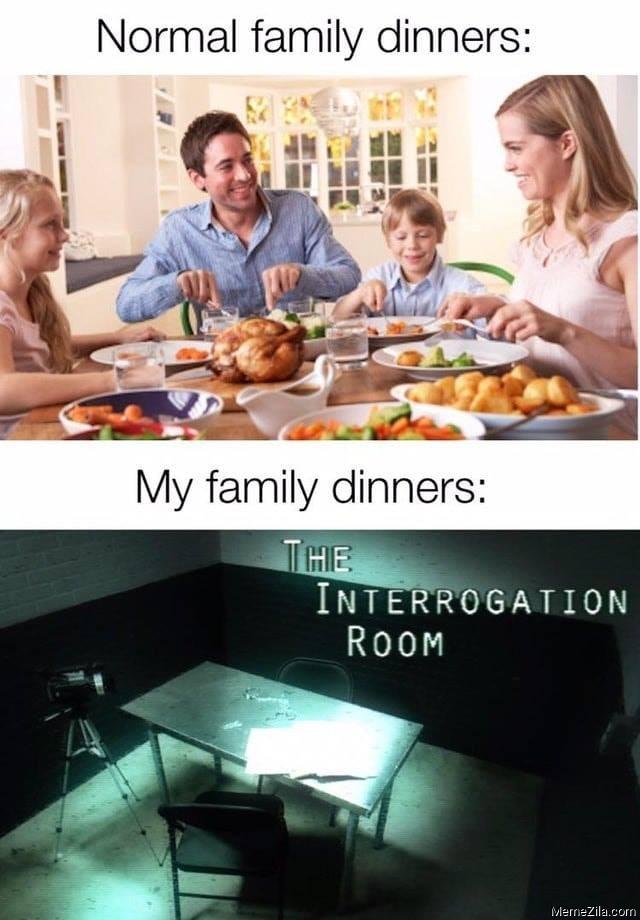 Normal family dinners vs My family dinners meme