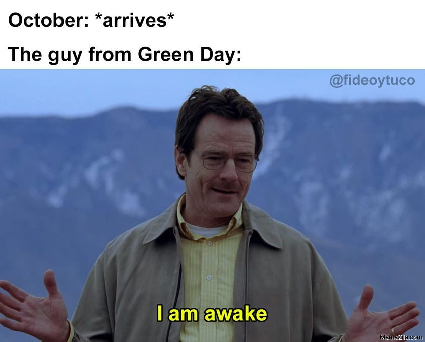 October arrives The guy from green day I am awake meme
