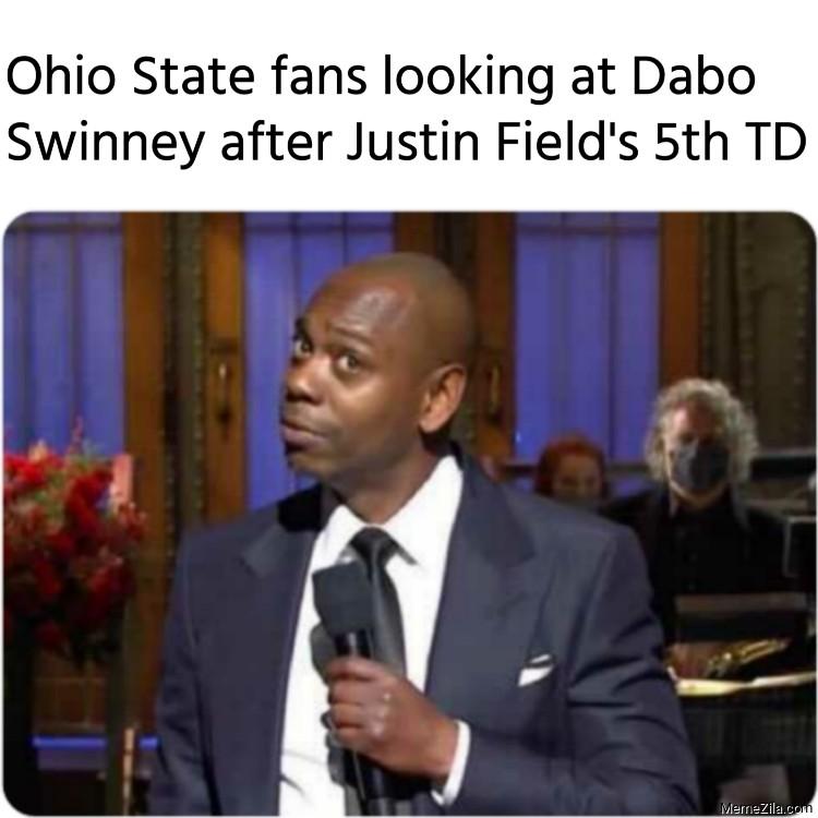Ohio State fans looking at Dabo Swinney after Justin Fields 5th TD meme