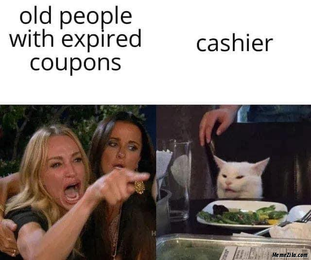 Old people with expired coupons Cashier meme