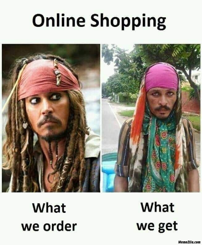 Online shopping what we order vs what we get meme