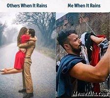 Others when it rains vs me when it rains meme