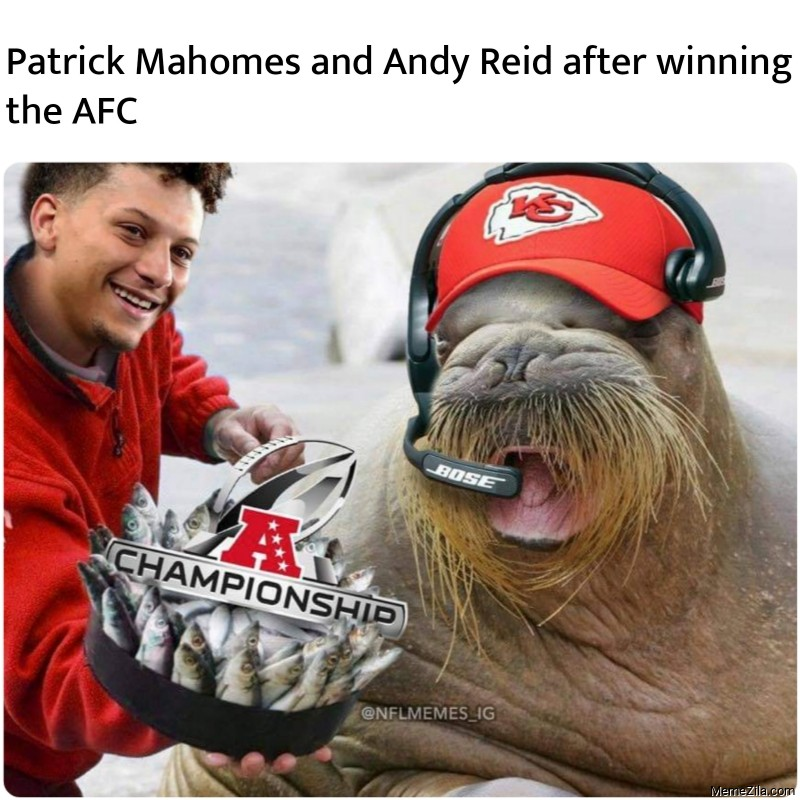 Patrick Mahomes and Andy Reid after winning the AFC meme