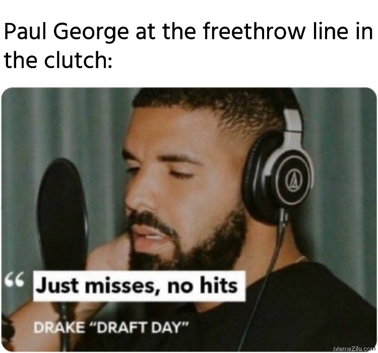 Paul George at the freethrow line in the clutch meme