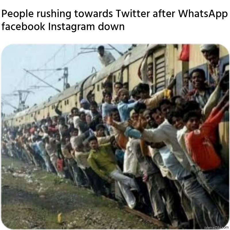 People rushing towards Twitter after WhatsApp facebook Instagram down meme