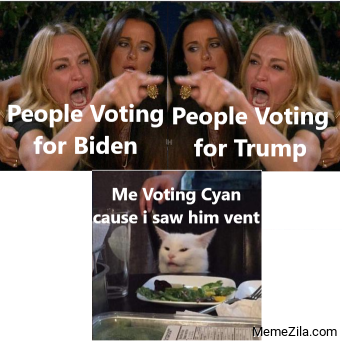 People voting for Biden People voting for trump Me voting cyan cause I saw him vent meme