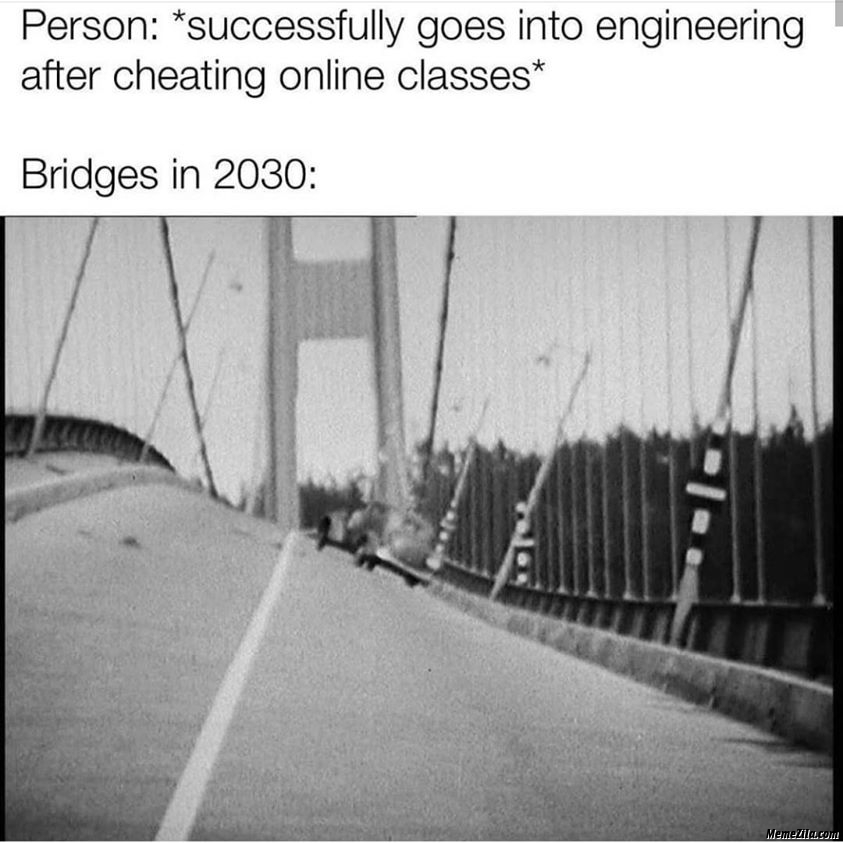 Person successfully goes into engineering after cheating online classes Meanwhile bridges in 2030 meme