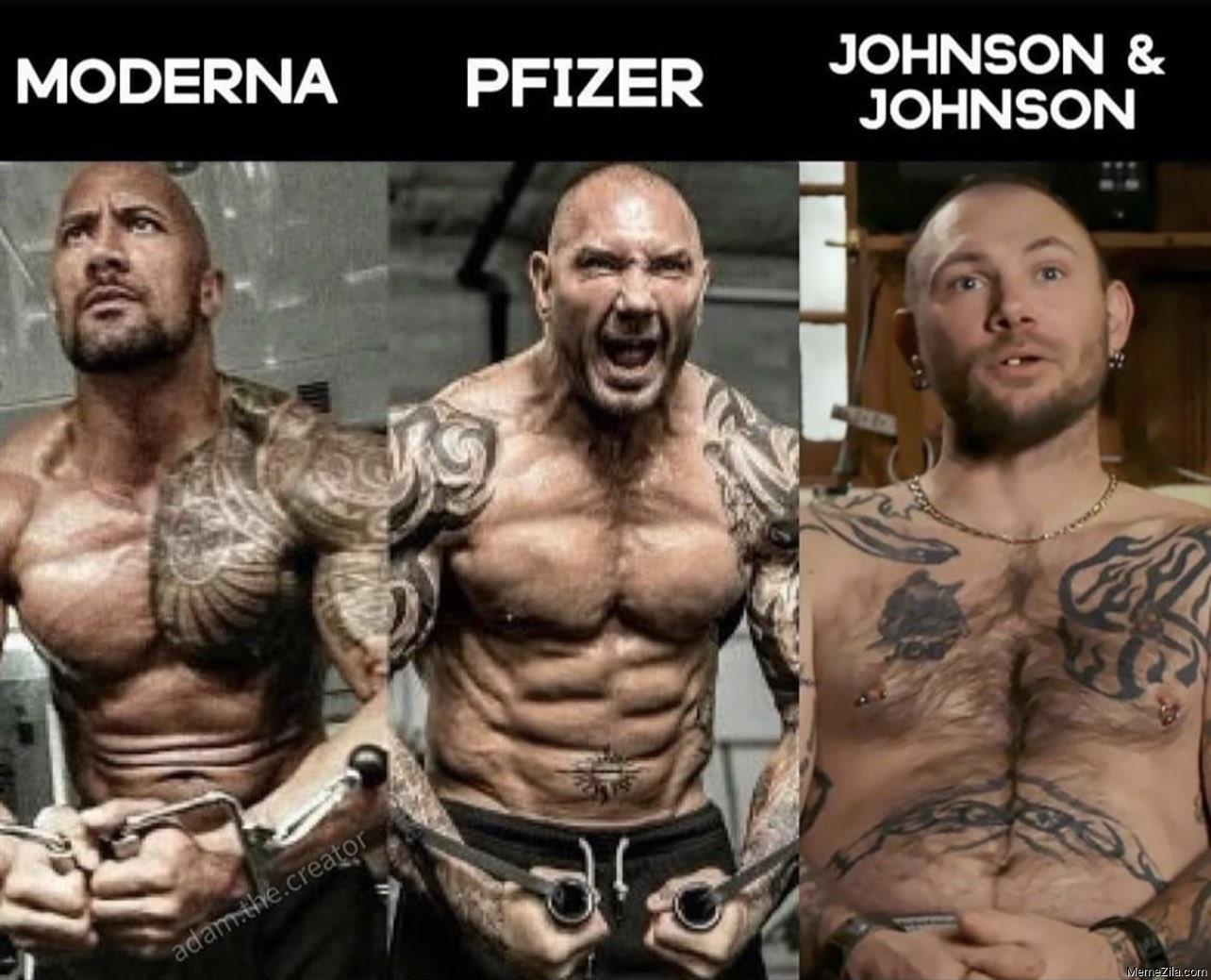 Pfizer Moderna Johnson and Johnson meme