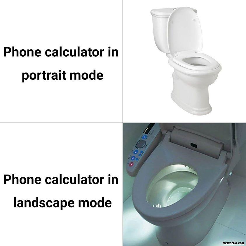 Phone calculator in portrait mode vs phone calculator in landscape mode meme