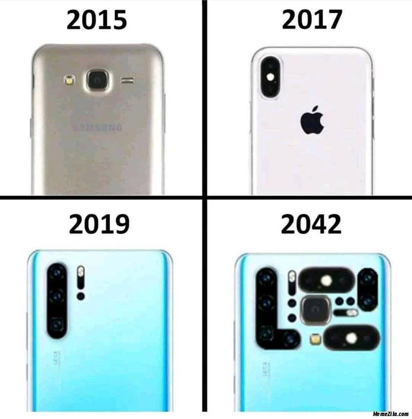 Phone cameras evolution in 2015 2017 2019 2042 meme