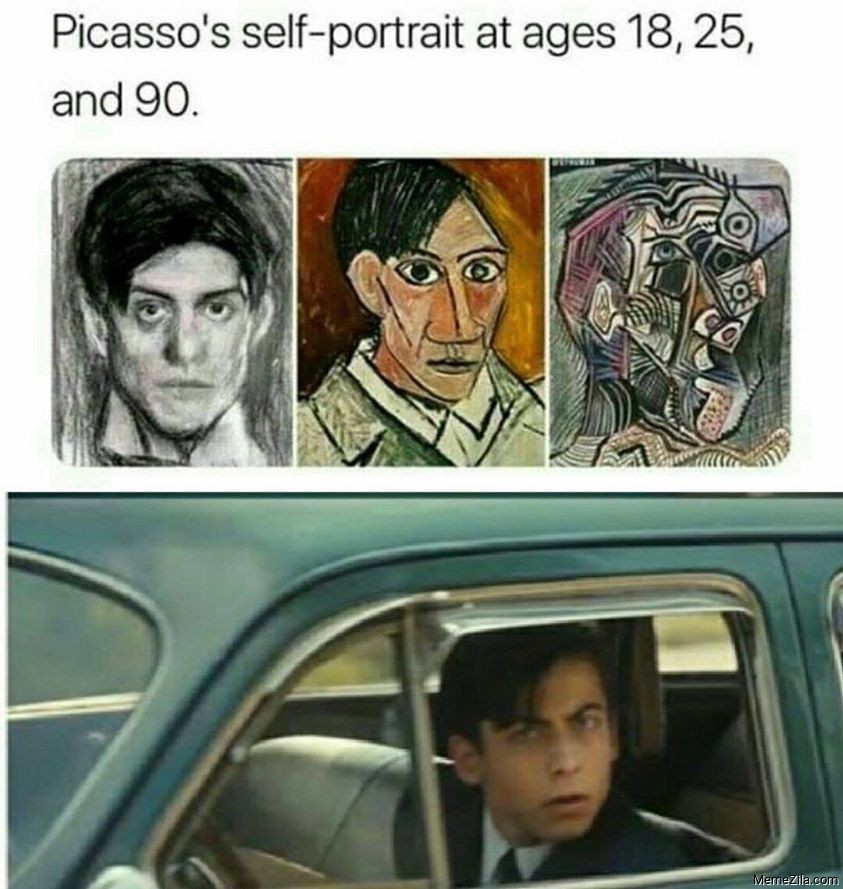 Picassos self portrait at ages 18 25 and 90 meme