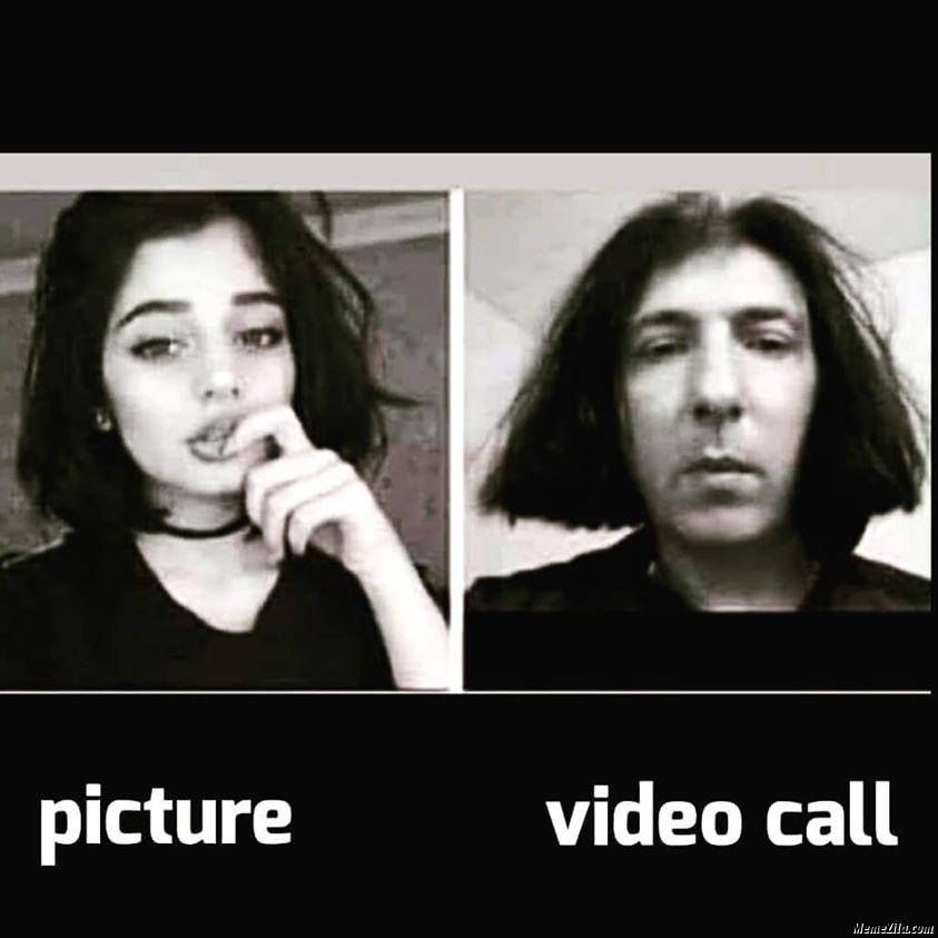 Picture vs video call meme