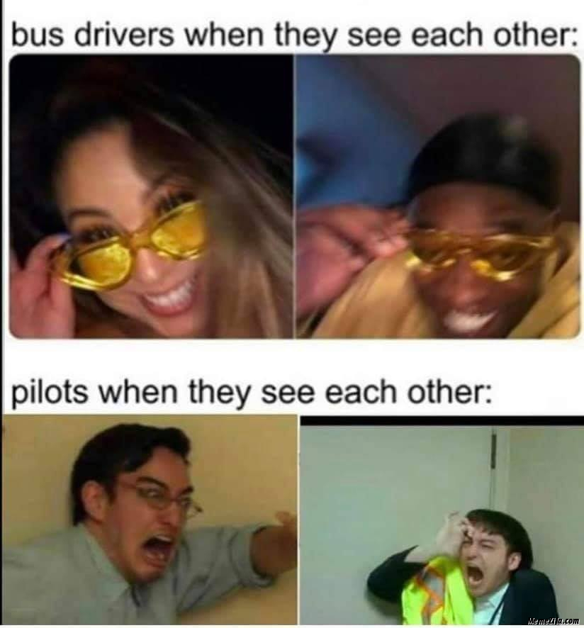 Pilots when they see each other meme