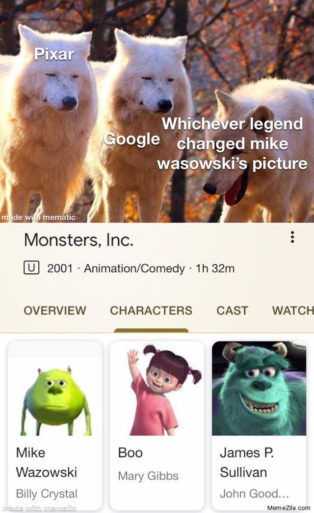 Pixar Google Whichever legend changed Mike Wazowskis picture meme