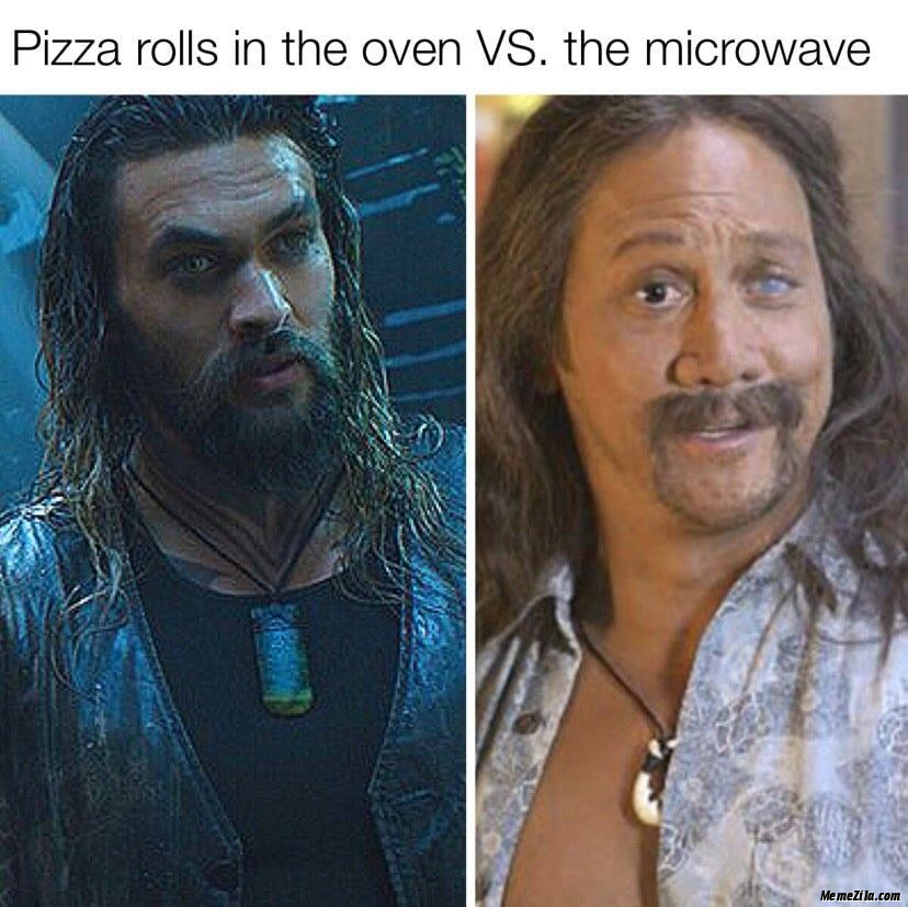 Pizza rolls in the oven vs in the microwave meme
