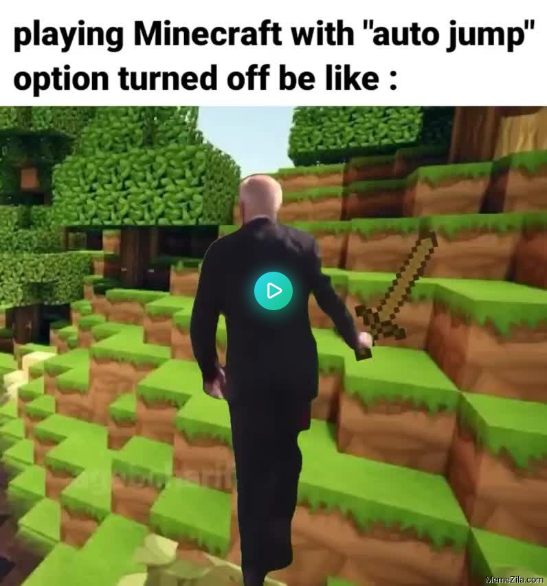 Playing minecraft with auto jump option turned off be like meme