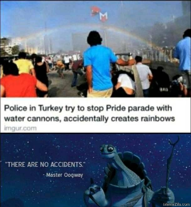 Police in Turkey tried to stop pride parade with water cannons accidentally creates rainbows meme
