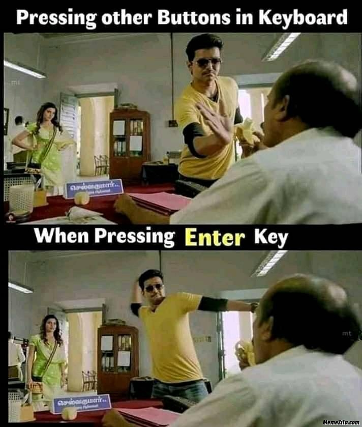 Pressing other buttons in keyboard vs when pressing enter key meme