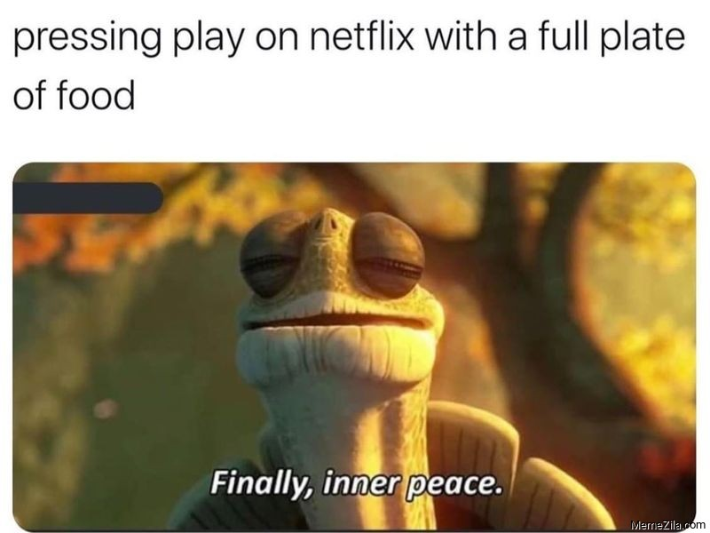 Pressing play on Netflix with the full plate of food Finally inner peace meme